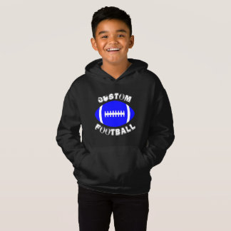 Kid's Sports Custom Team Name Blue Football Hoodie