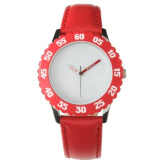 Kid's Stainless Steel Red Watch With Adjustable Be