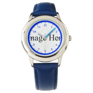 Kid's Stainless Steel Watch Blue Leather Strap