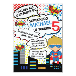 superhero party invitations announcements zazzle uk