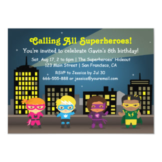Kids Superhero Birthday Party Invitations