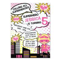 Kids Superhero Birthday Party Invite Girl Hero