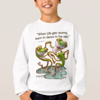 Kids Sweatshirt: Frogs Dancing in Rain With Quote Sweatshirt