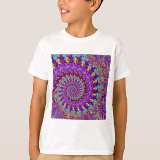 Kids T-Shirt Crazy Fractal Purple terquoise yellow