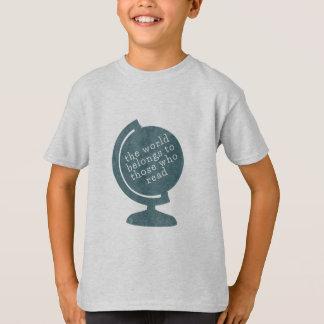 Kid's T-Shirt World Belongs to Those who Read Blue