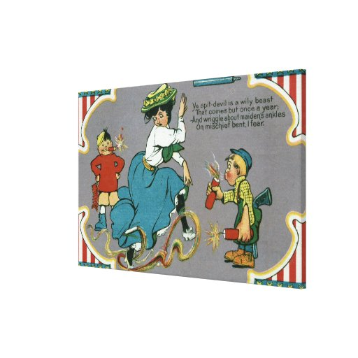 Kids Tormenting Woman with Fireworks Stretched Canvas Print