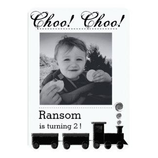 Kid's train birthday party invitation. 13 cm x 18 cm invitation card