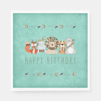 Kids Tribal Animal Birthday Party Paper Napkin