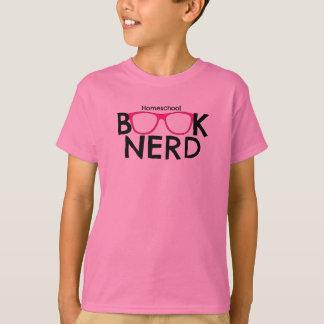 Kids' Unisex Homeschool Book Nerd Pink Glasses Tee
