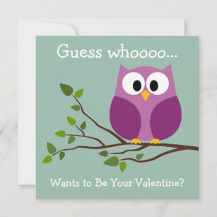 Cute Cartoon With Owls Valentine S Day Cards Zazzle Co Uk