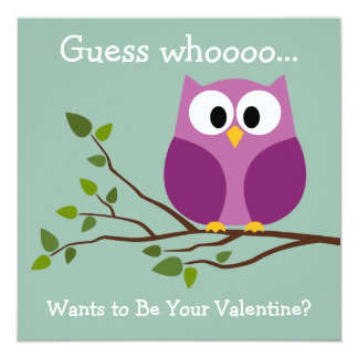 Kids Valentines Day Card with Cute Cartoon Owl