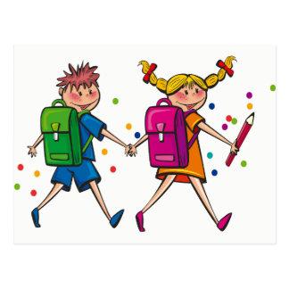 Kids Walking to School Postcard