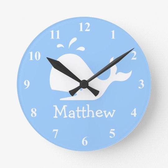 Kids wall clock with cute whale cartoon and
