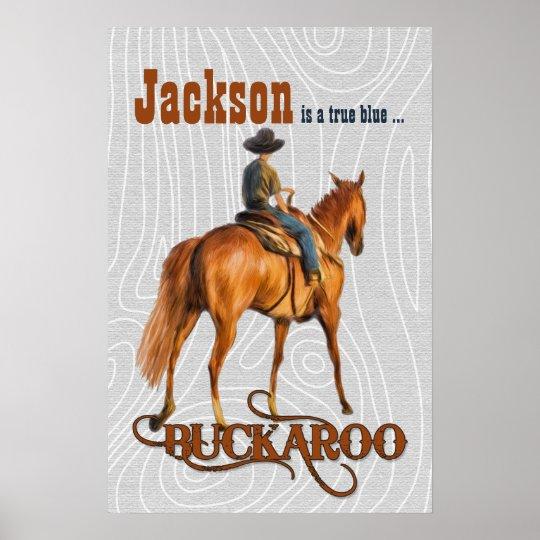 Kid's Western Themed Custom Name Buckaroo Poster