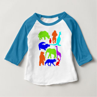 Kids Wild Animals Colorful Bright Cute Baby T-Shirt