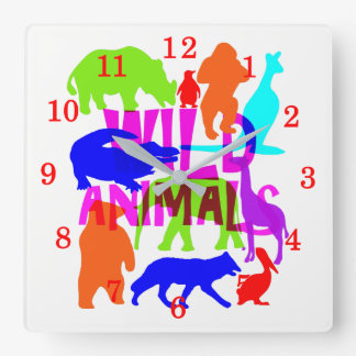Kids Wild Animals Colorful Bright Cute Square Wall Clock