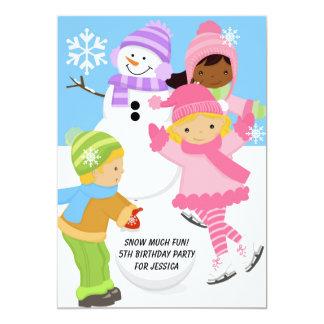 Kids Winter Snow Skating Sledding Birthday Invite