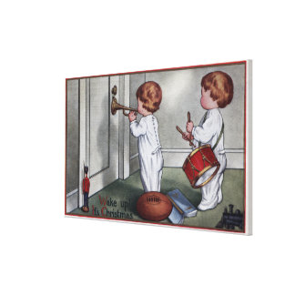 Kids with Drum and Trumpet Gallery Wrapped Canvas