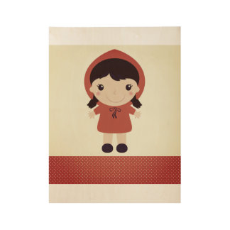 Kids wood poster with Red riding hood