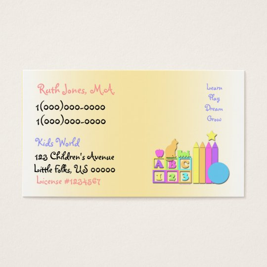 Kids World Daycare Business Card