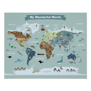 Childrens world map posters prints zazzle uk kids world map with animals and landmarks poster gumiabroncs Images