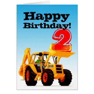 Kids Yellow Digger 2nd Birthday Card