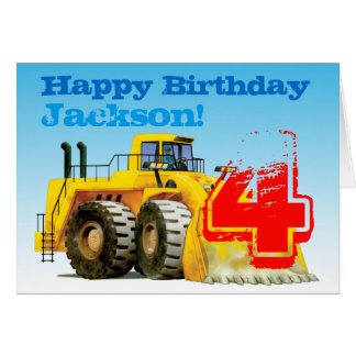Kid's Yellow Digger 4th Birthday Card