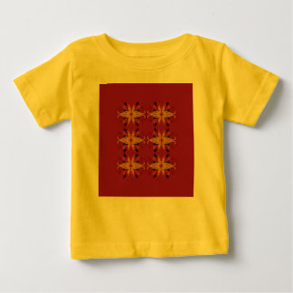 Kids yellow tshirt with Ornaments brown