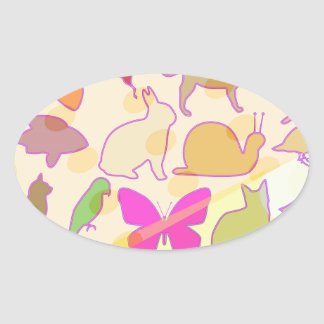 KIDS ZOO : Animal Cartoon Collections Oval Sticker