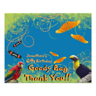 Kids Zoo Birthday Goody Bag Topper 11.5 Cm X 14 Cm Flyer