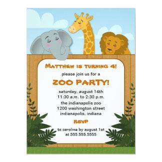 Kids Zoo Birthday Party Invitations