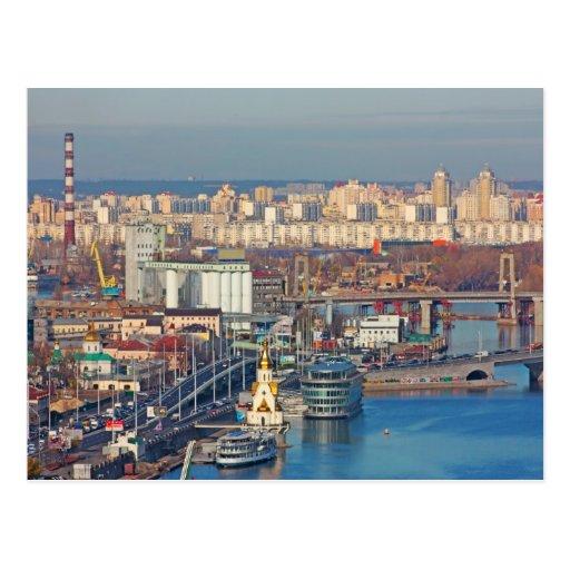 Kiev bussines and industry city landscape on river postcards
