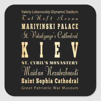 Kiev City of Ukraine Typography Art Square Sticker