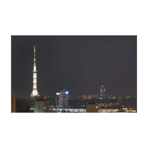 Kiev night cityscape gallery wrapped canvas
