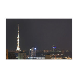 Kiev night cityscape stretched canvas prints
