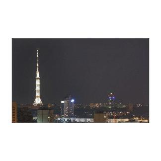 Kiev night cityscape stretched canvas prints