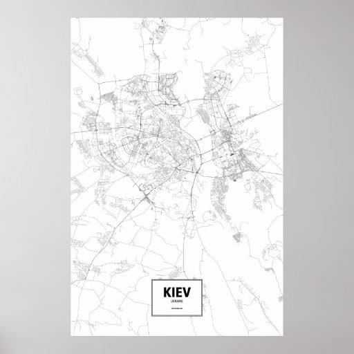 Kiev, Ukraine (black on white) Poster
