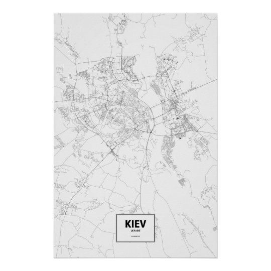 Kiev, Ukraine (black on white) Poster