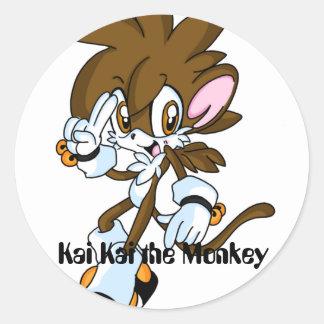 kikithemonkey 2, Kai Kai the Monkey Round Sticker