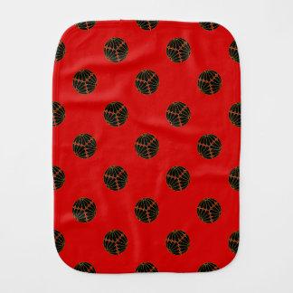 Kiku Chrysanthemum Mon black, faux gold on red. Burp Cloth