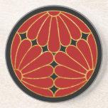 Kiku Chrysanthemum Mon red gold on black Drink Coasters