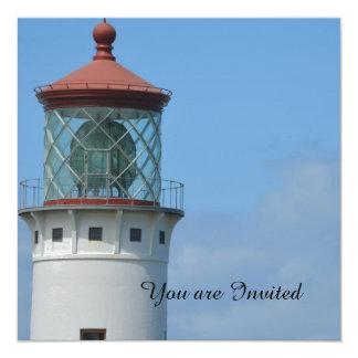 """Kilauea Lighthouse 5.25"""" Square Invitation Card"""
