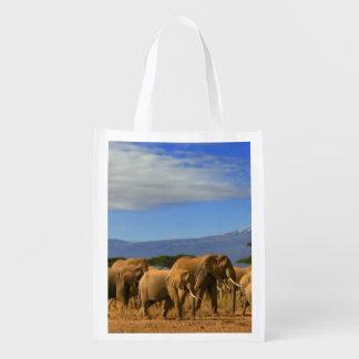 Kilimanjaro And Elephants Reusable Grocery Bag