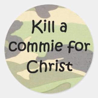 Kill a commie for Christ helmet graffiti Round Stickers