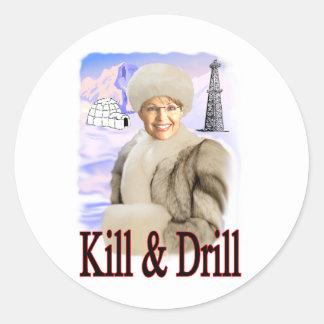 kill and drill classic round sticker