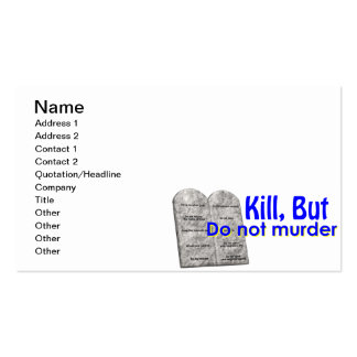 Kill But Do Not Murder Pack Of Standard Business Cards