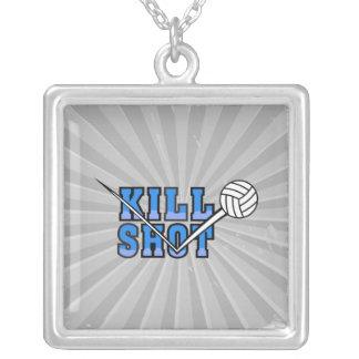 kill shot volleyball design square pendant necklace