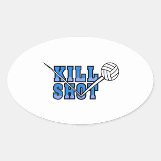 kill shot volleyball design oval sticker