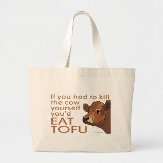 Kill the Cow - Vegan, Vegetarian Jumbo Tote Bag
