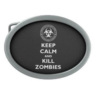 Kill Zombies Oval Belt Buckle